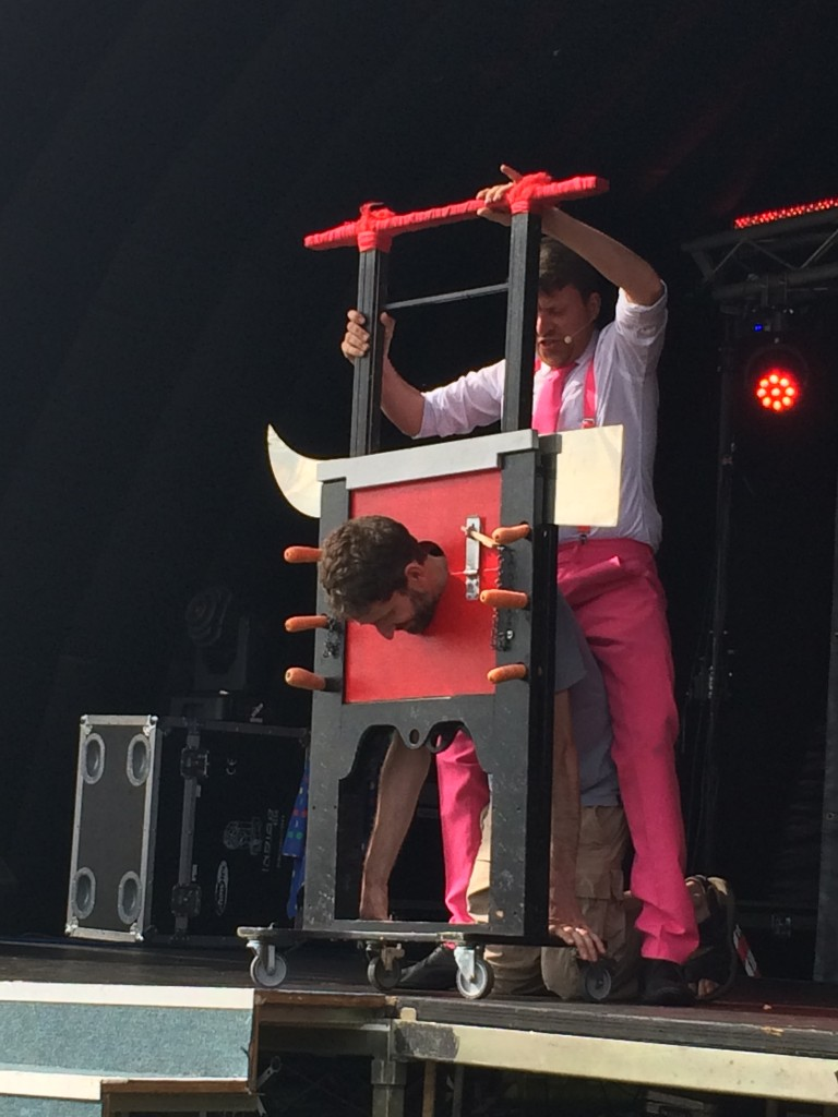 adult in the guillotine with JezO