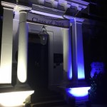 grand entrance lit up in white and blue