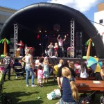 Inflatable stage at kids show